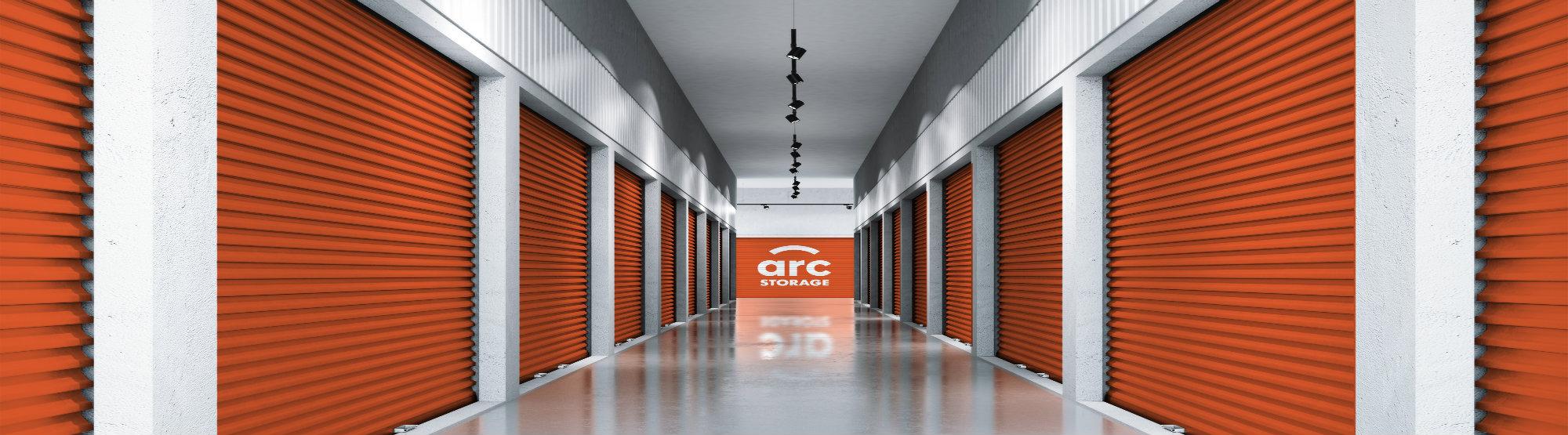 Rows of orange storage units for Arc Storage
