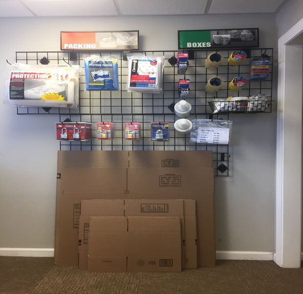 Boxes and packing supplies in office