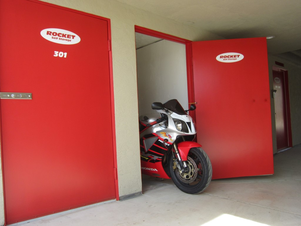 storage facility with motorcycle