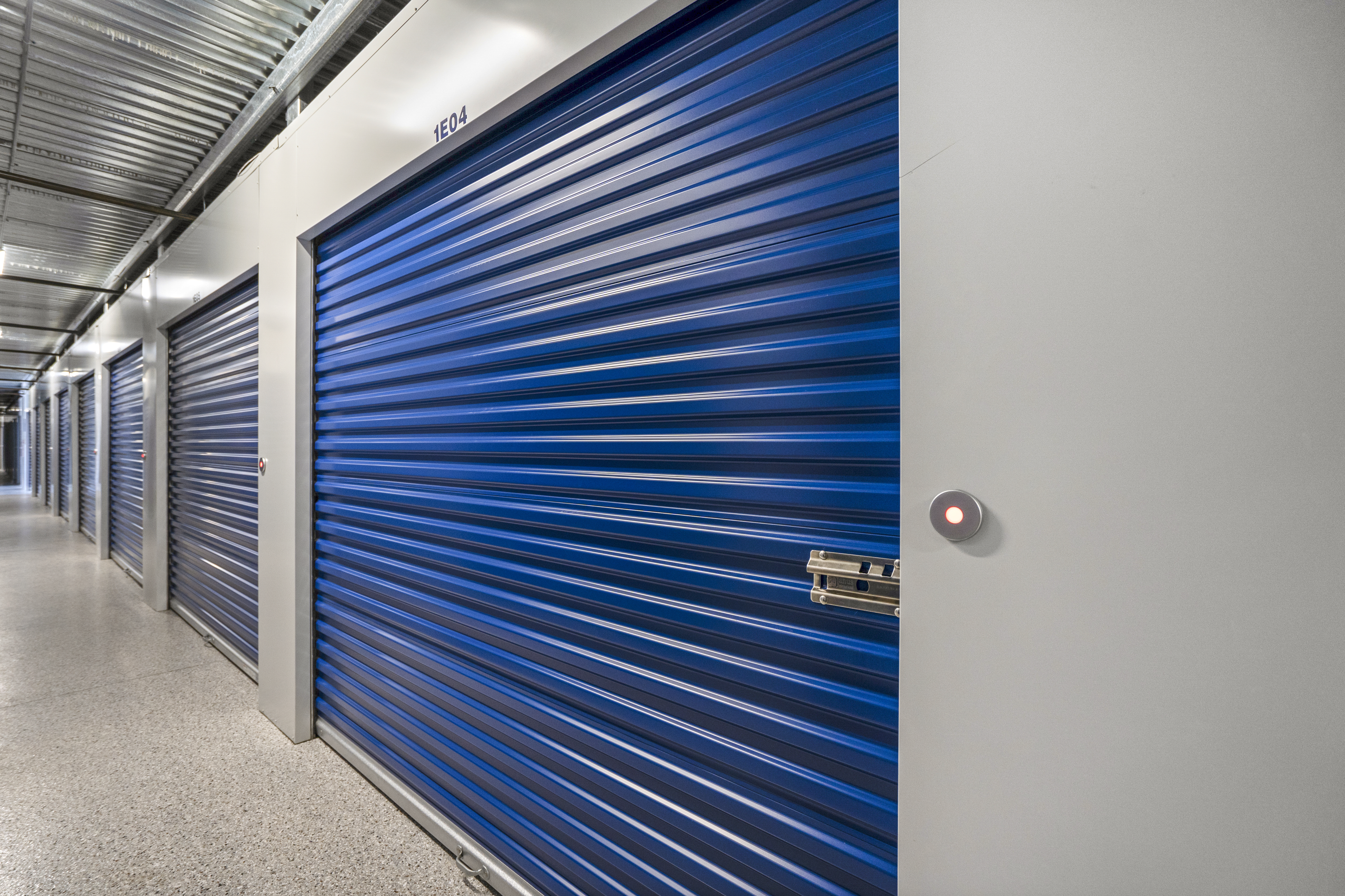 interior self storage unit with roll up door