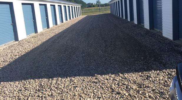 Rows of self storage units at AmeriStorage Self Storage