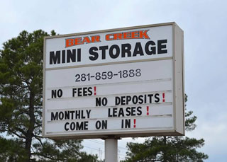 Bear Creek Mini Storage Front sign