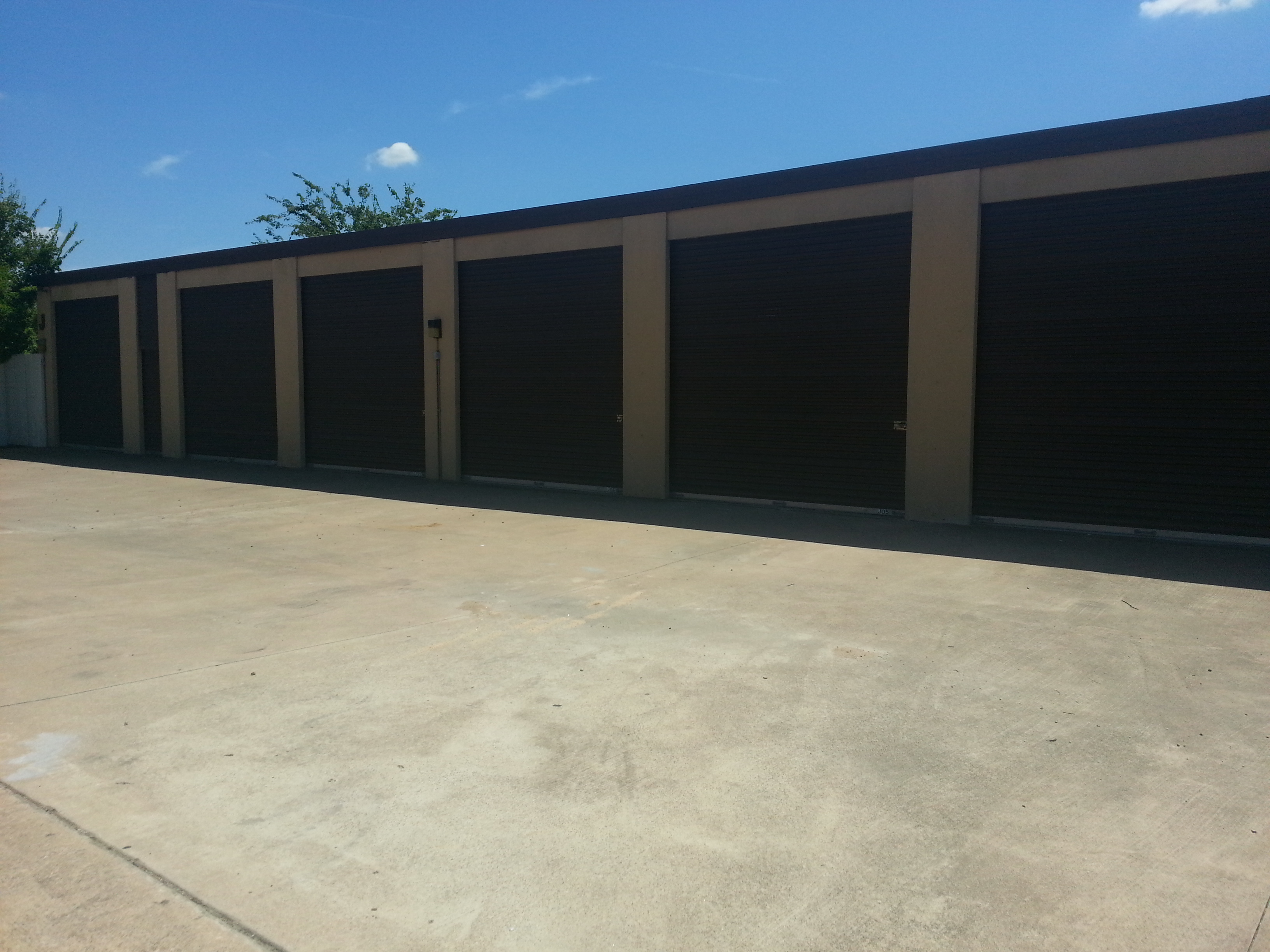 row of storage units outside