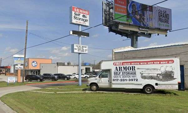 Look for Armor Self Storage next to OC Burgers in Haltom City, TX