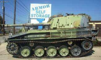 Tank parked in front of Armor Self Storage