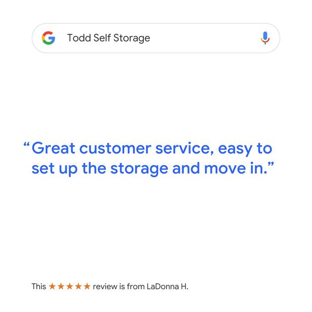 Todd Self Storage Google Review Post