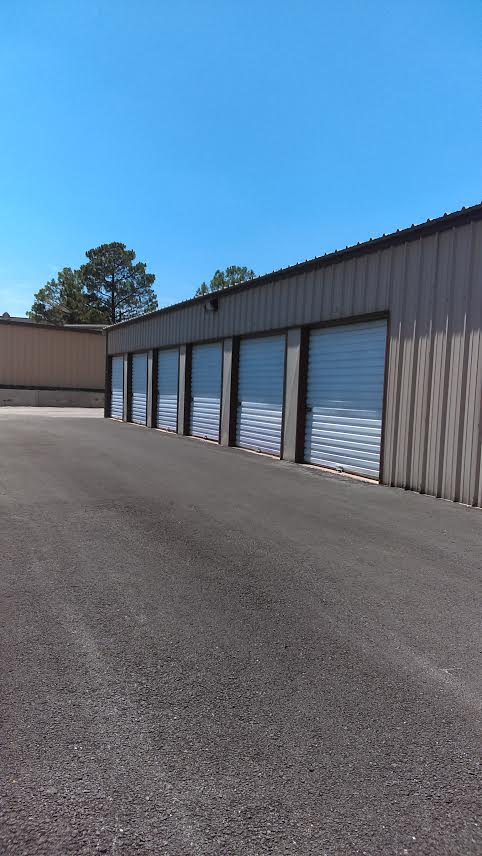 Row of storage units with exterior access